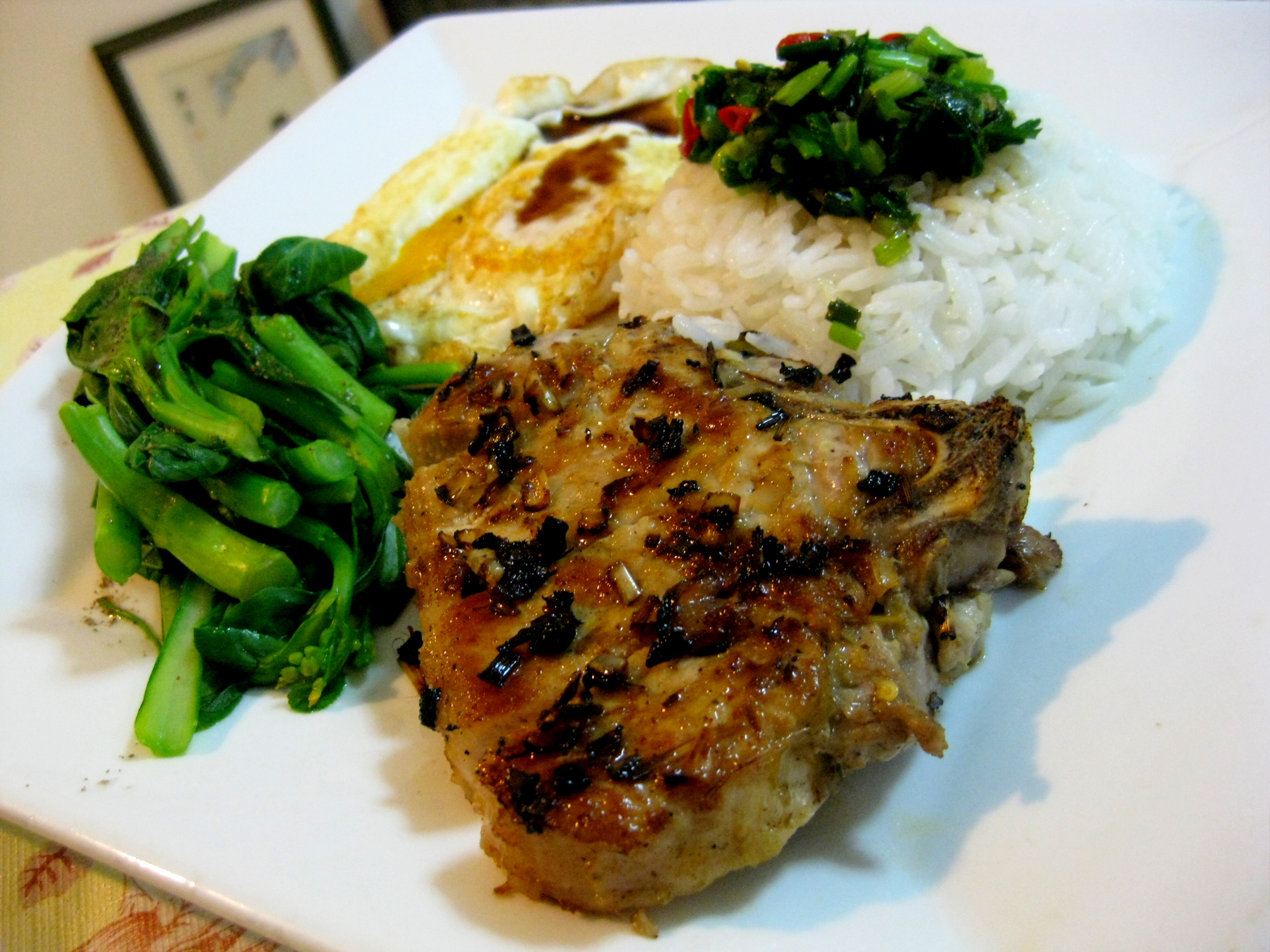 Vietnamese pork chop rice plate recipe