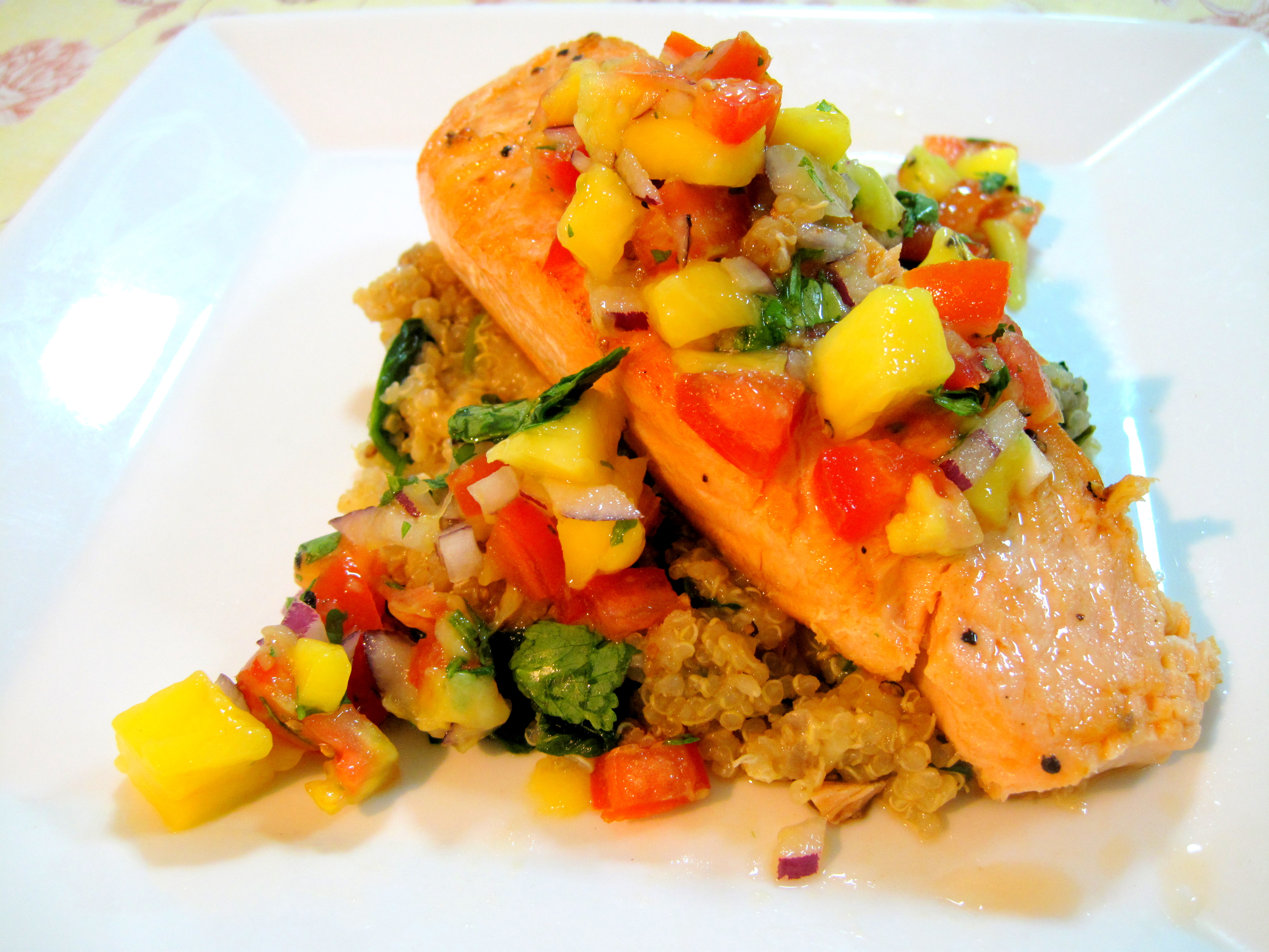 Pan Fried Salmon, Spinach Quinoa, and Mango Salsa | Kelly Siew Cooks