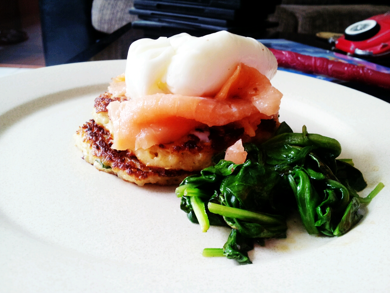 Poached Egg, Salmon, Quinoa Cakes and Wilted Spinach   Kelly Siew ...