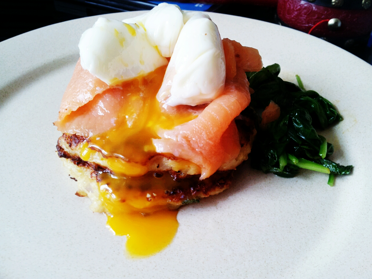 Poached Egg, Salmon, Quinoa Cakes and Wilted Spinach | Kelly Siew ...