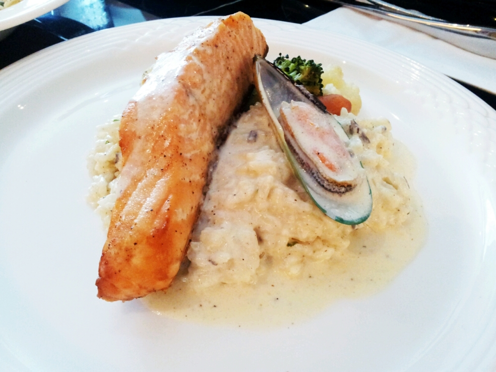 Roast Salmon, Mussel, Creamy Risotto.