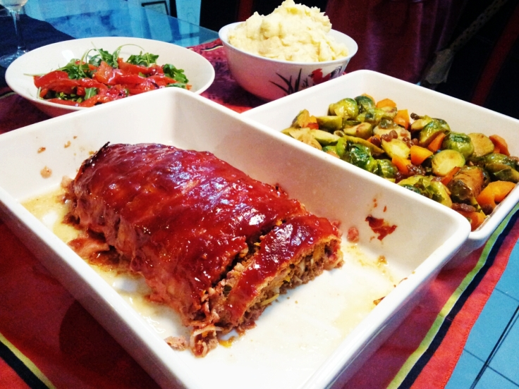 Meatloaf, Sauteed Brussels Sprouts with Raisins and Carrots, Roast Capsicum and Rocket Salad, Colcanoon.