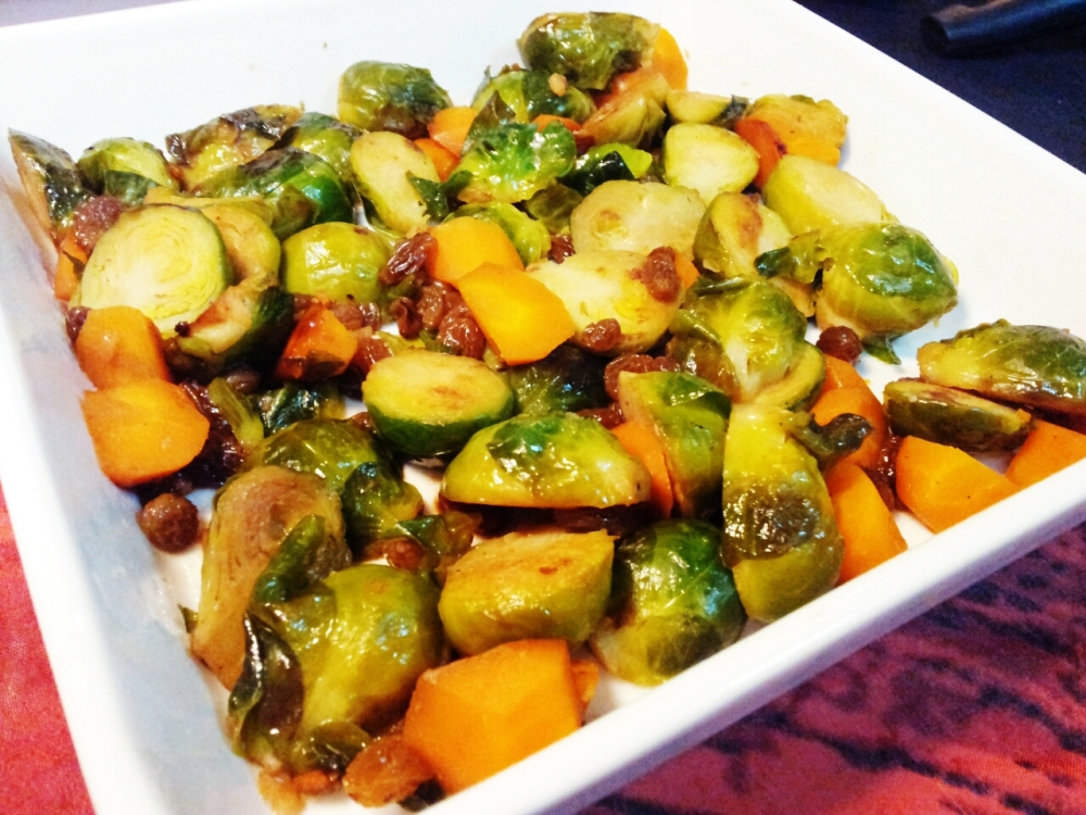 Sauteed Brussels Sprouts with Raisins and Carrots.