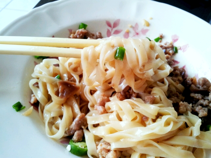 Just look at those glossy noodle strands, coated with pork gravy..... heavenly!