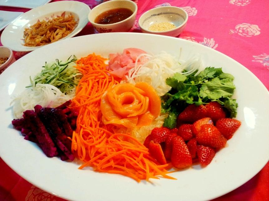 A modernised Yee Sang with unusual ingredients.