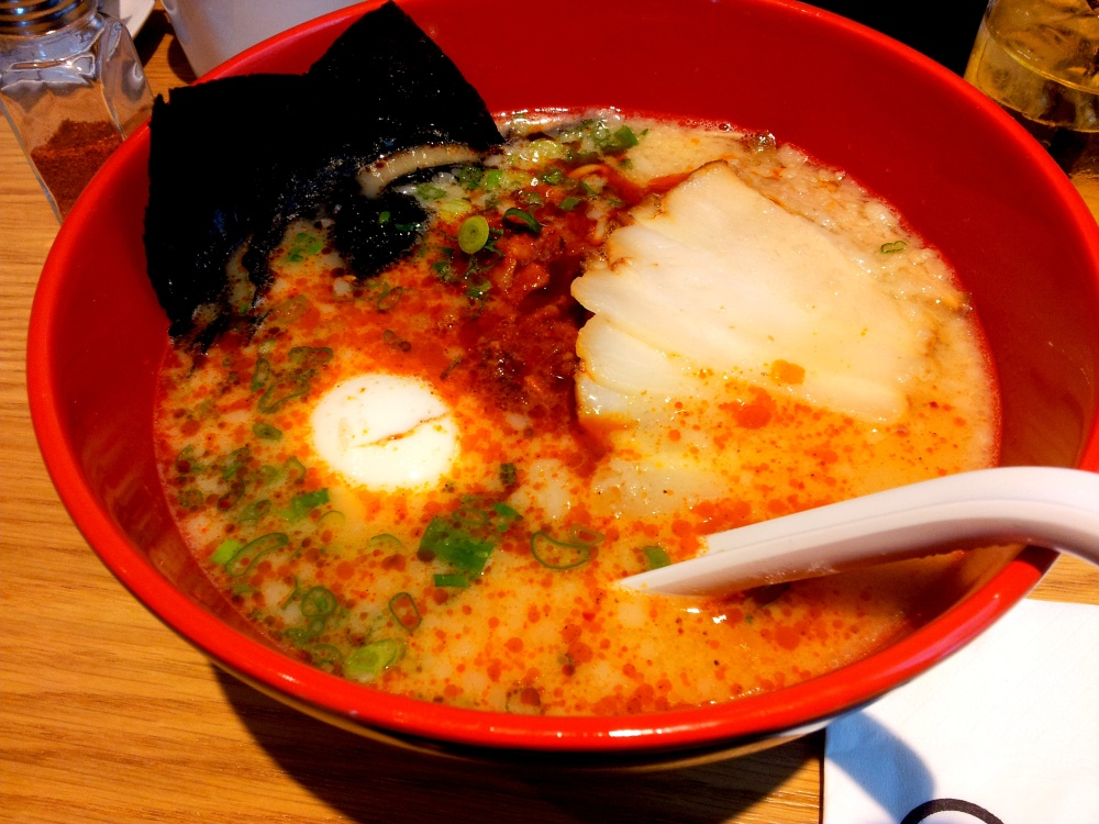 Karaka Special: Ramen with flavoured egg, pork belly and seaweed.