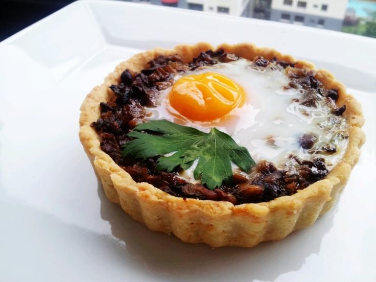 Baked Egg in Mushroom Tartlet