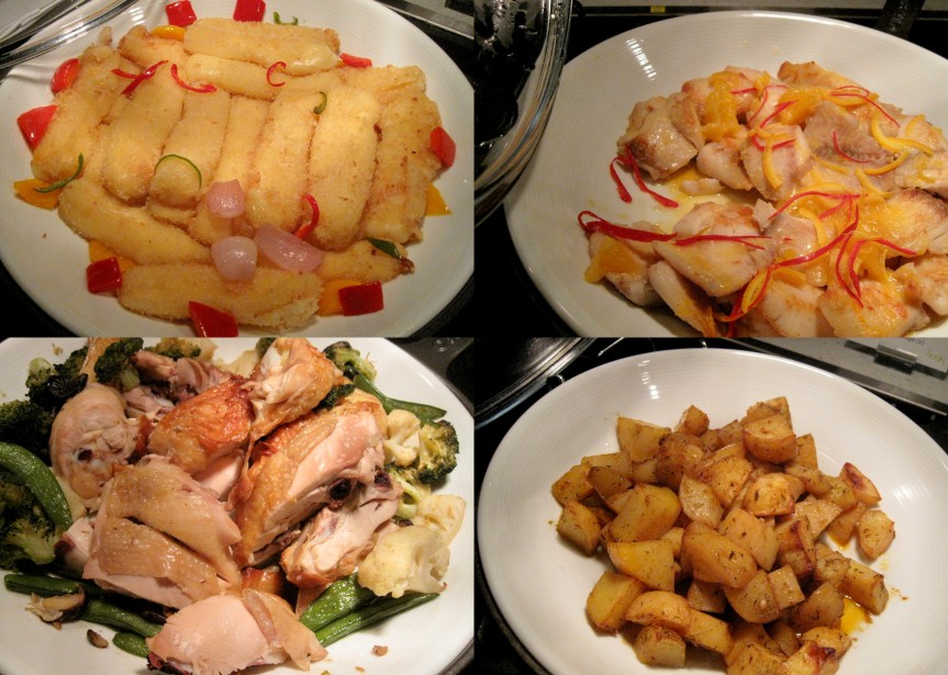 Mozzarella Stick, Pan fried Dory, Roast potatoes with sage, Roast chicken with vegetables.