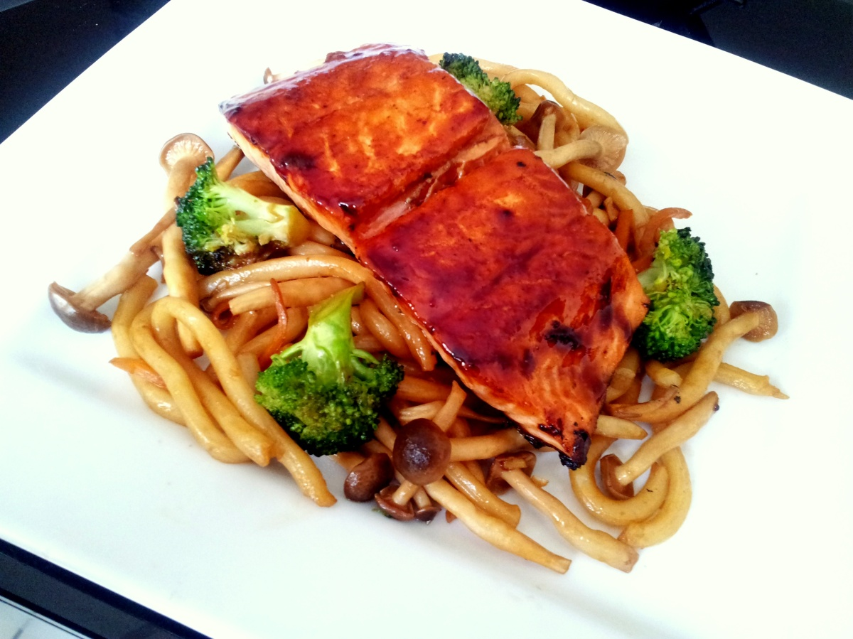 Teriyaki Salmon and Yaki Udon (Fried Udon Noodles) | Kelly Siew Cooks