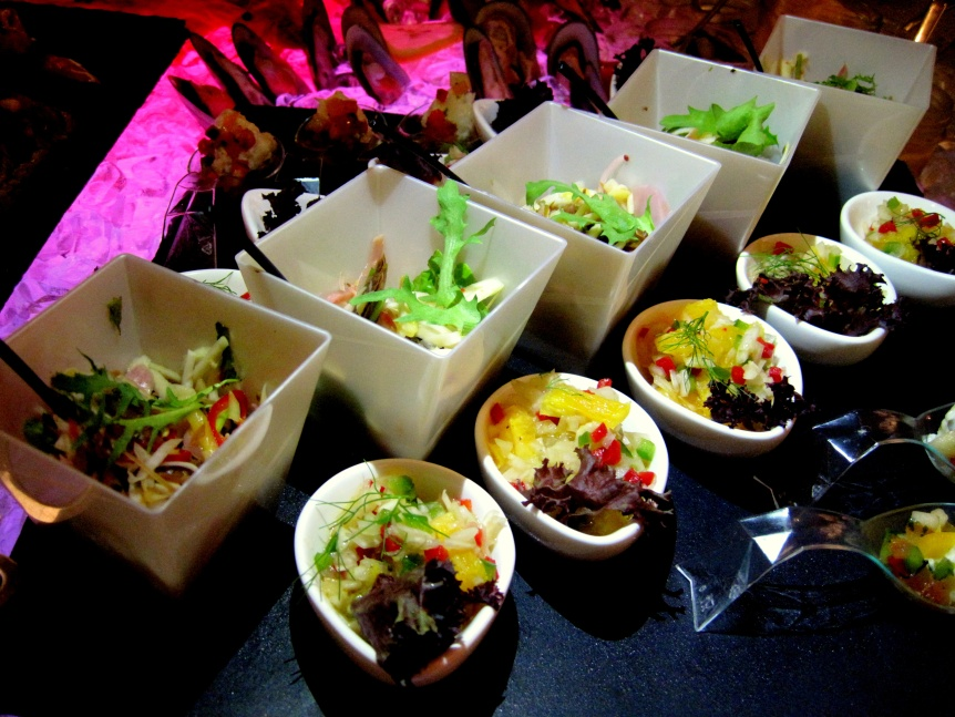 Beautifully presented mini kerabu type salads.