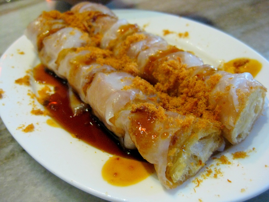 Hong Kong style steamed rice roll with crispy meat floss