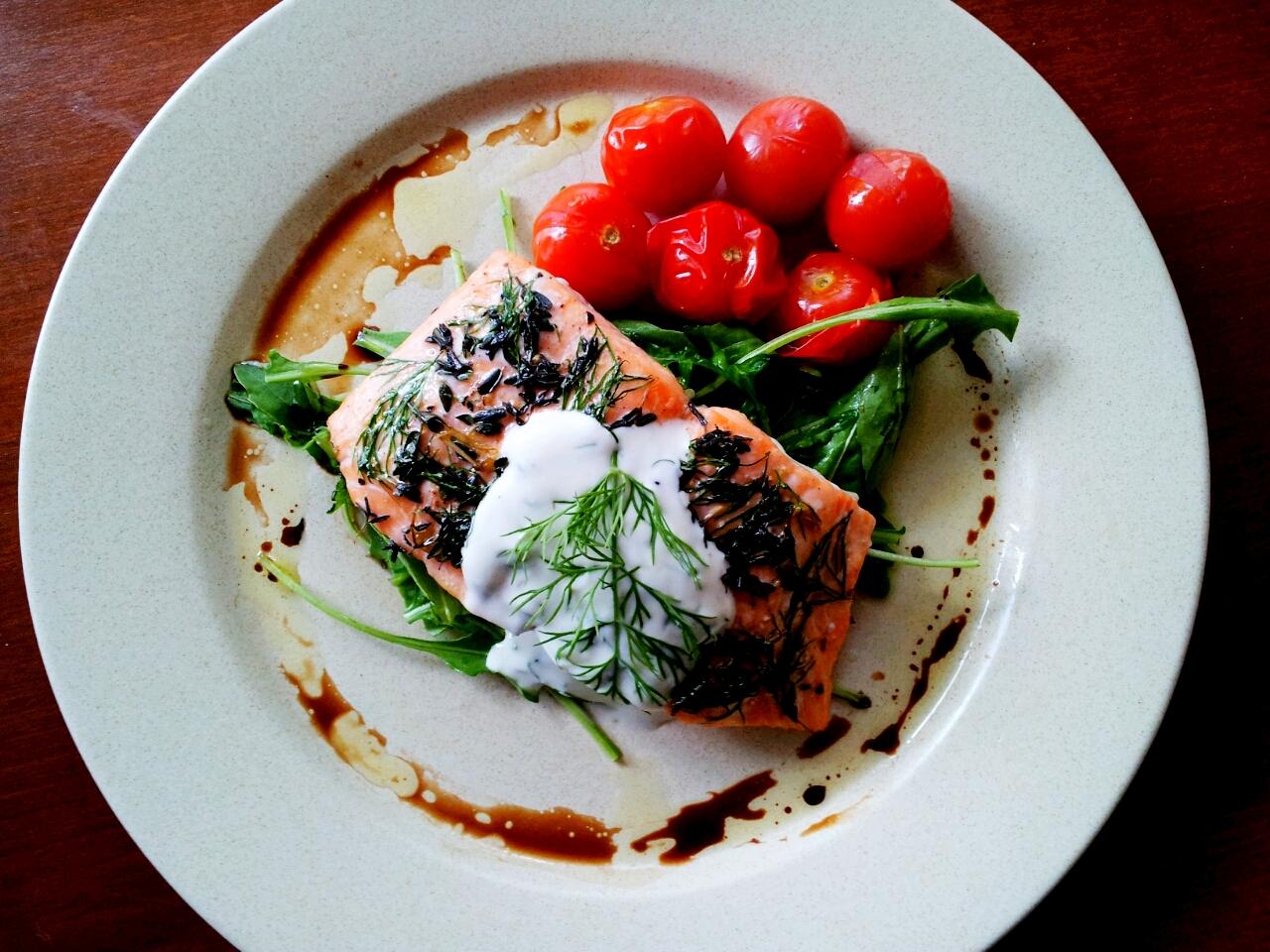 and Herbs Baked Norway Salmon, Dill Yoghurt Sauce, Wild Rocket, Roast ...