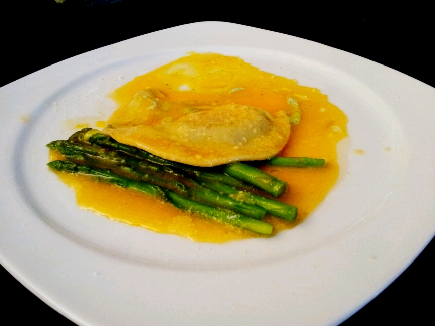 Raviolo of Sunshine with Asparagus