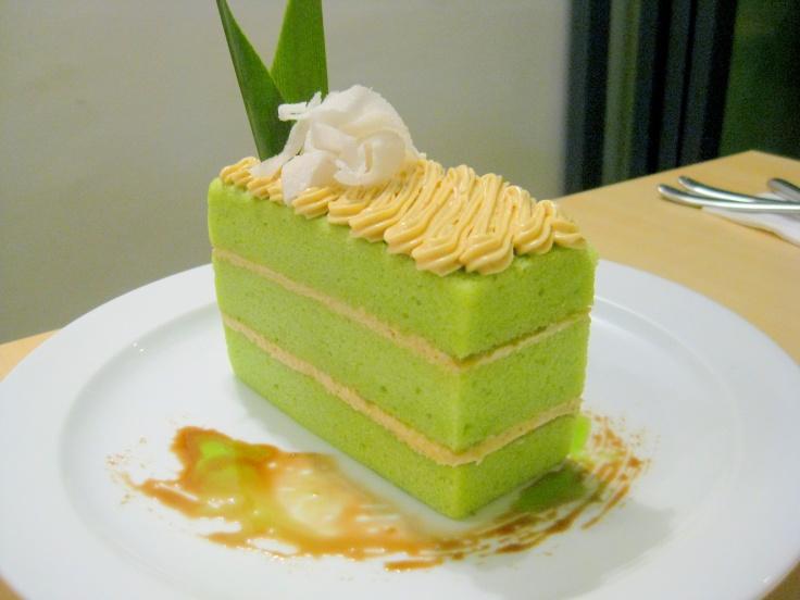 Pandan Delicio – pandan chiffon, gula melaka, buttercream, candied coconut cake. (Season Special)