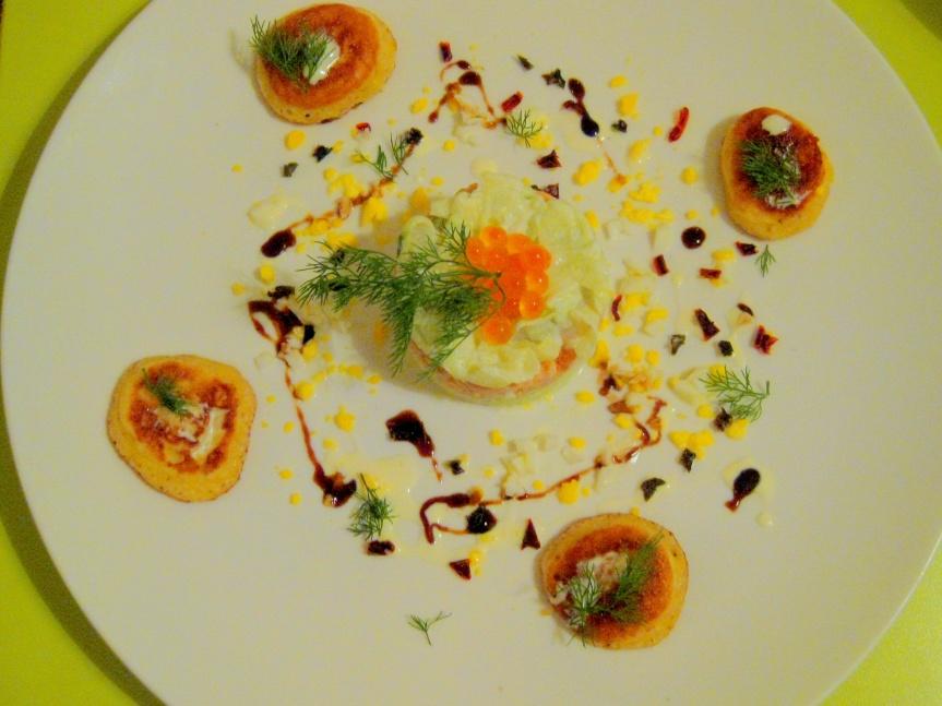 Salmon & Tuna Tartare, Capsicums Brunoise & Cucumber Jelly
