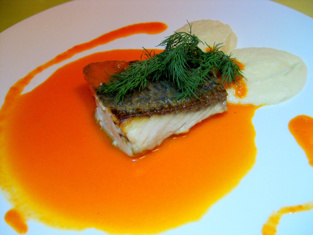 Sea Bass Fillet, Red Capsicum Coulis & Celeriac Puree