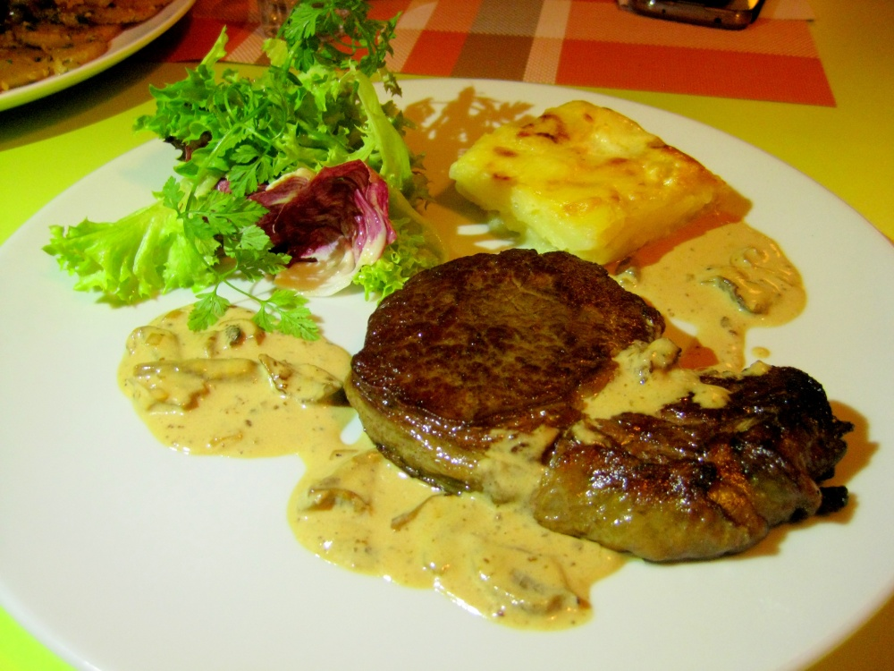 Beef Rib Eye, Cepes Mushroom Sauce & Potato Gratin