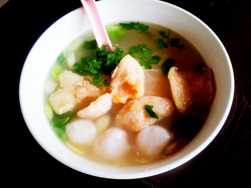 Noodle soup with Fish Maw & Fish Ball (RM7.50)
