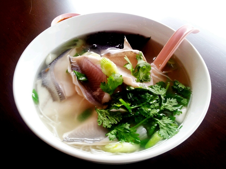 Seaweed Noodle Soup with Poached Pomfret
