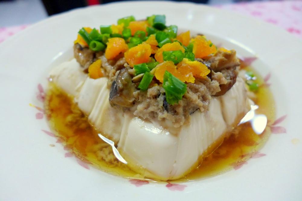Steamed Tofu with Minced Pork, Mushrooms and Salted Egg Yolk.
