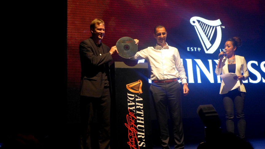 Bruce Dallas, Marketing Director of Guinness Anchor Berhad and Hans Essaadi, Managing Director of Guinness Anchor Berhad launching the celebrations with our resident Guinness Girl & host, Serena C.