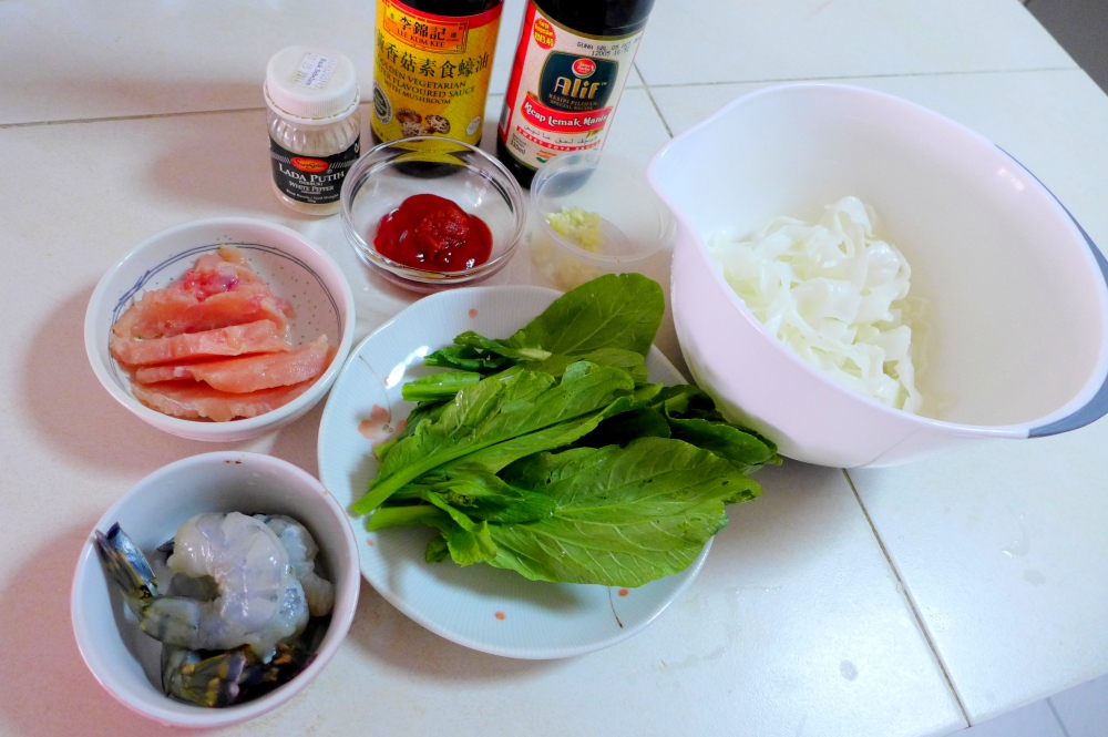 Mise en place, missing some cornstarch and chicken stock.