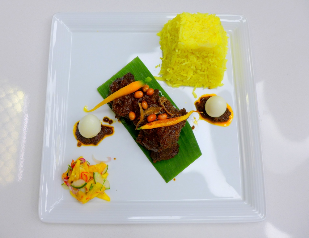 Wagyu Beef Rendang, Farm Vegetables Achar Jelatah , Tumeric Coconut Rice