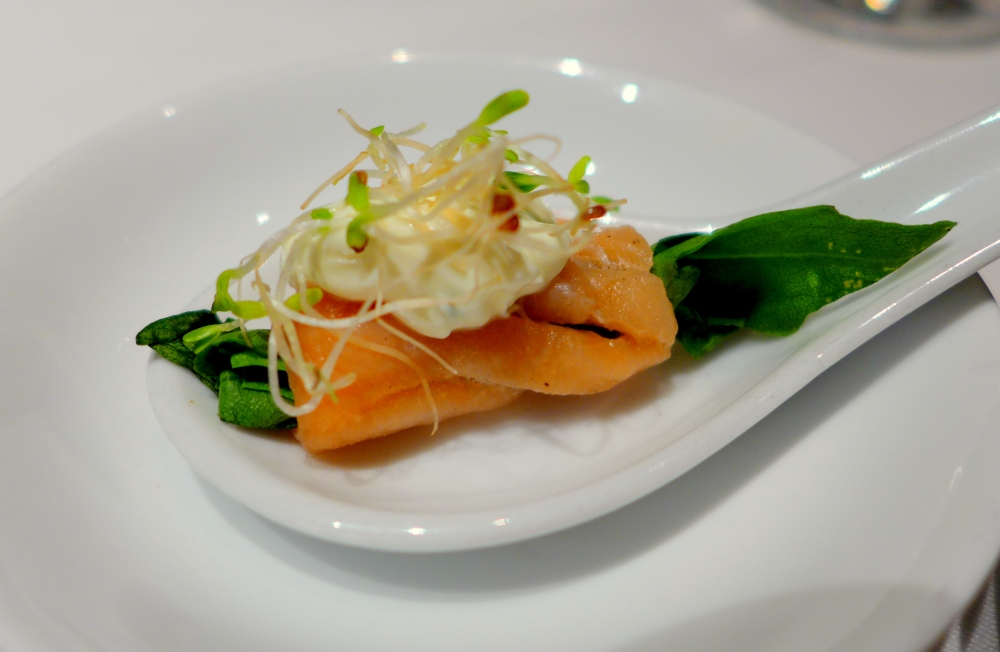 Arugula, Smoked Salmon, a touch of cream cheese and alfalfa sprouts.