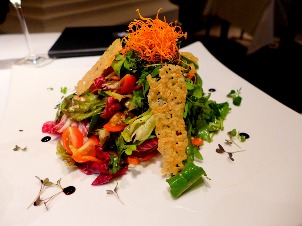 Mixed Leaves salad with Parmesan Crisp and balsamic dressing.