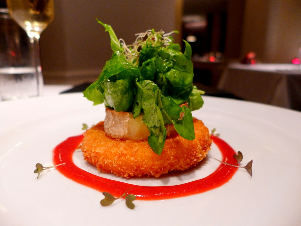Pumpkin Milanese and Flor De Ronda Goats Cheese with Rocket salad and Mixed red fruits