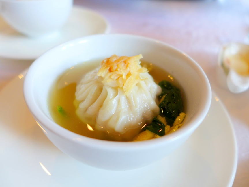 Shanghai Dumplinh with Egg Strips and Spinach in Chicken Broth