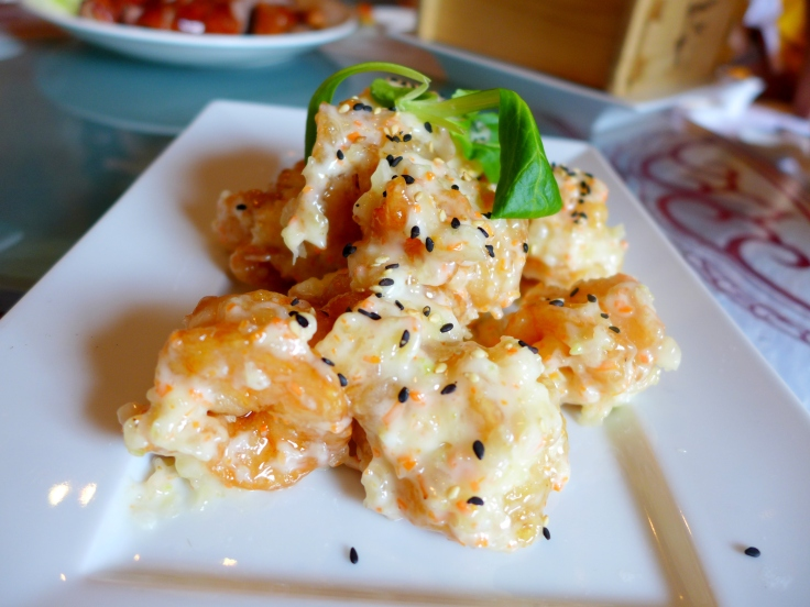 Sesame Prawns served with Minced Nutmeg and Mayonnaise