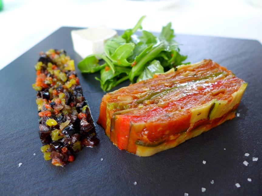 Vegetable terrine, Kalamata Olives, Goat Cheese.