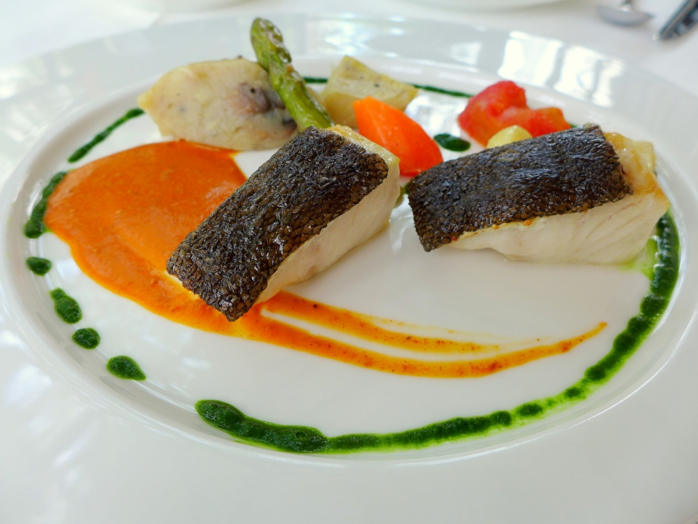 Pan Roasted Black Cod, Lobster Bisque, Mash Potatoes and Pesto