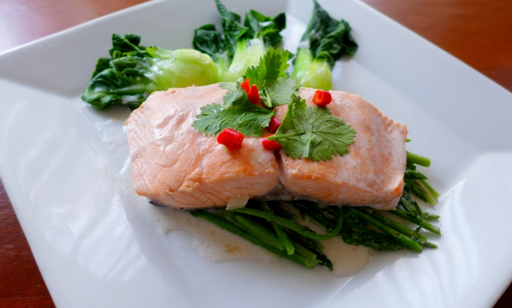 Poached Salmon in Coconut Milk with Greens