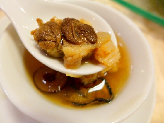 Double boiled Oxtail Soup with Sun-Dried Scallops and dried oysters and radish