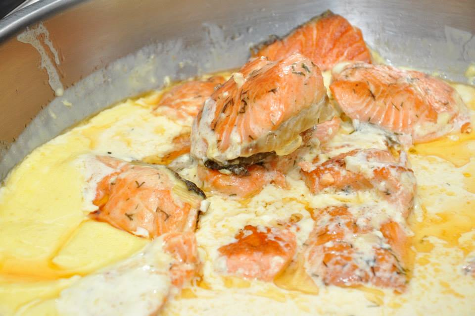Gorgeous dish with big chunks of salmon swimming in delicious cream sauce.