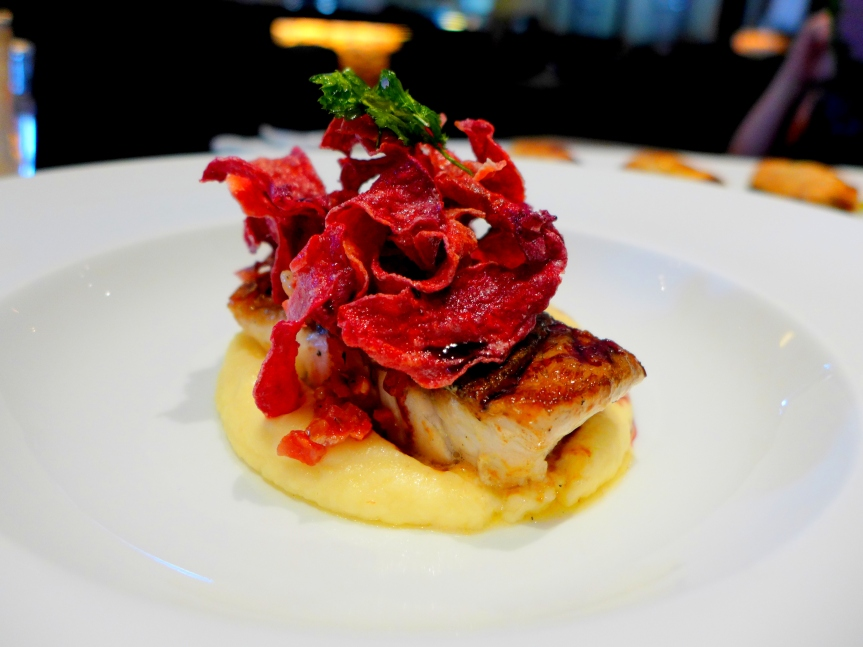 Market fish, parsnip puree, French sausage, beetroot chips