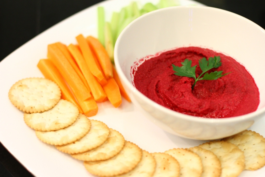 Beetroot Hummus with Carrot and Celery Sticks