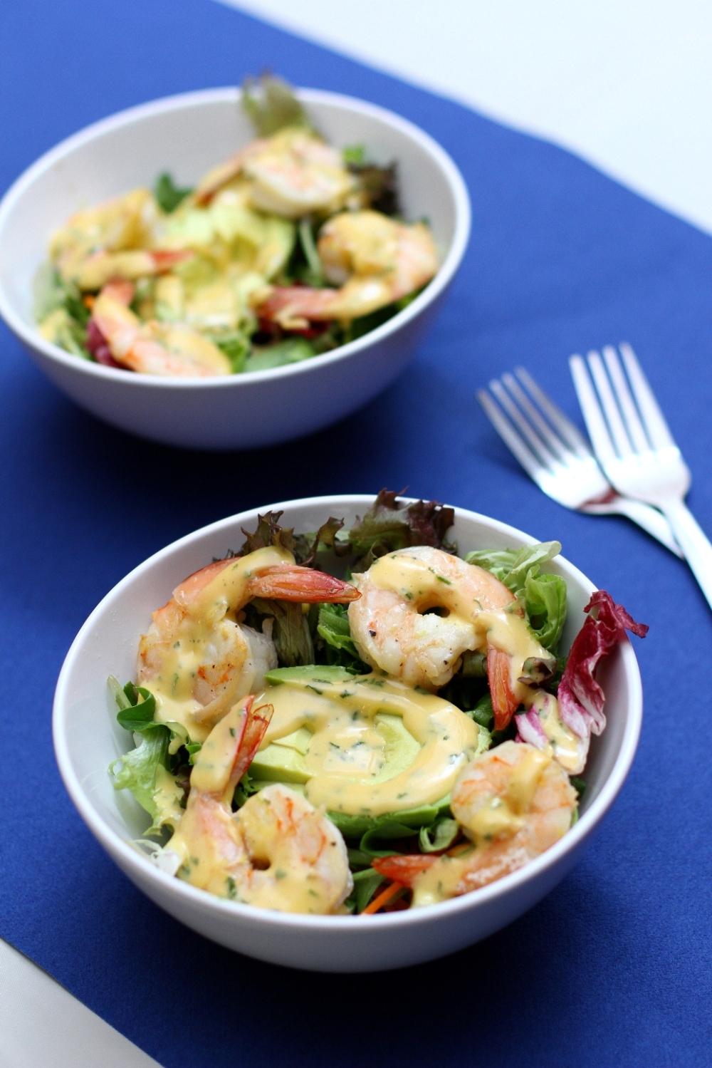 Prawns and Avocado Salad with Homemade Coriander Mayo