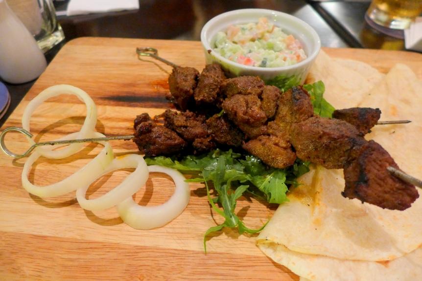 Masala Lamb Skewer with Tortillas, Rocket salad and Raita - RM31.50
