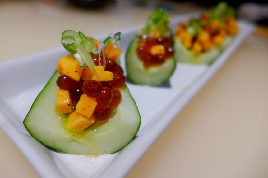 Japanese Cucumber with Salmon Roe, Cheddar Cheese and Olive Oil