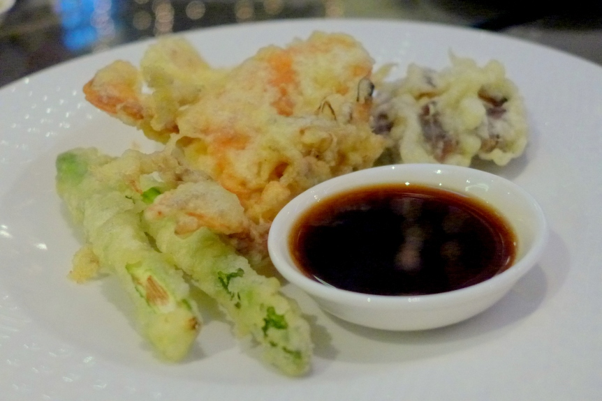 My serving of Tempura: Asparagus, Soft Shell Crab, Mushrooms and Fish